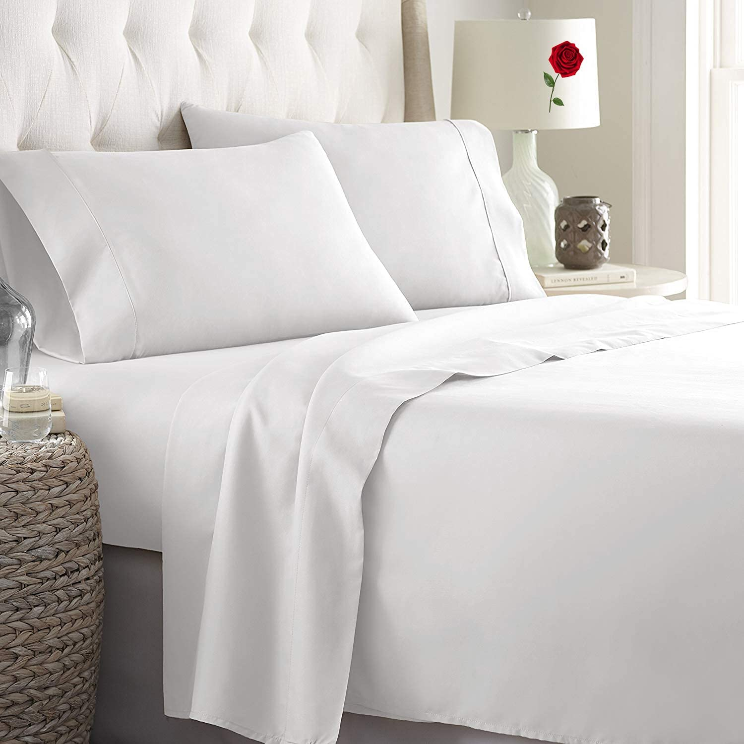 ForZzz 4Piece Cozy 100% OFFer Free shipping anywhere in the nation Pure Cotton Natural Queen Size White She