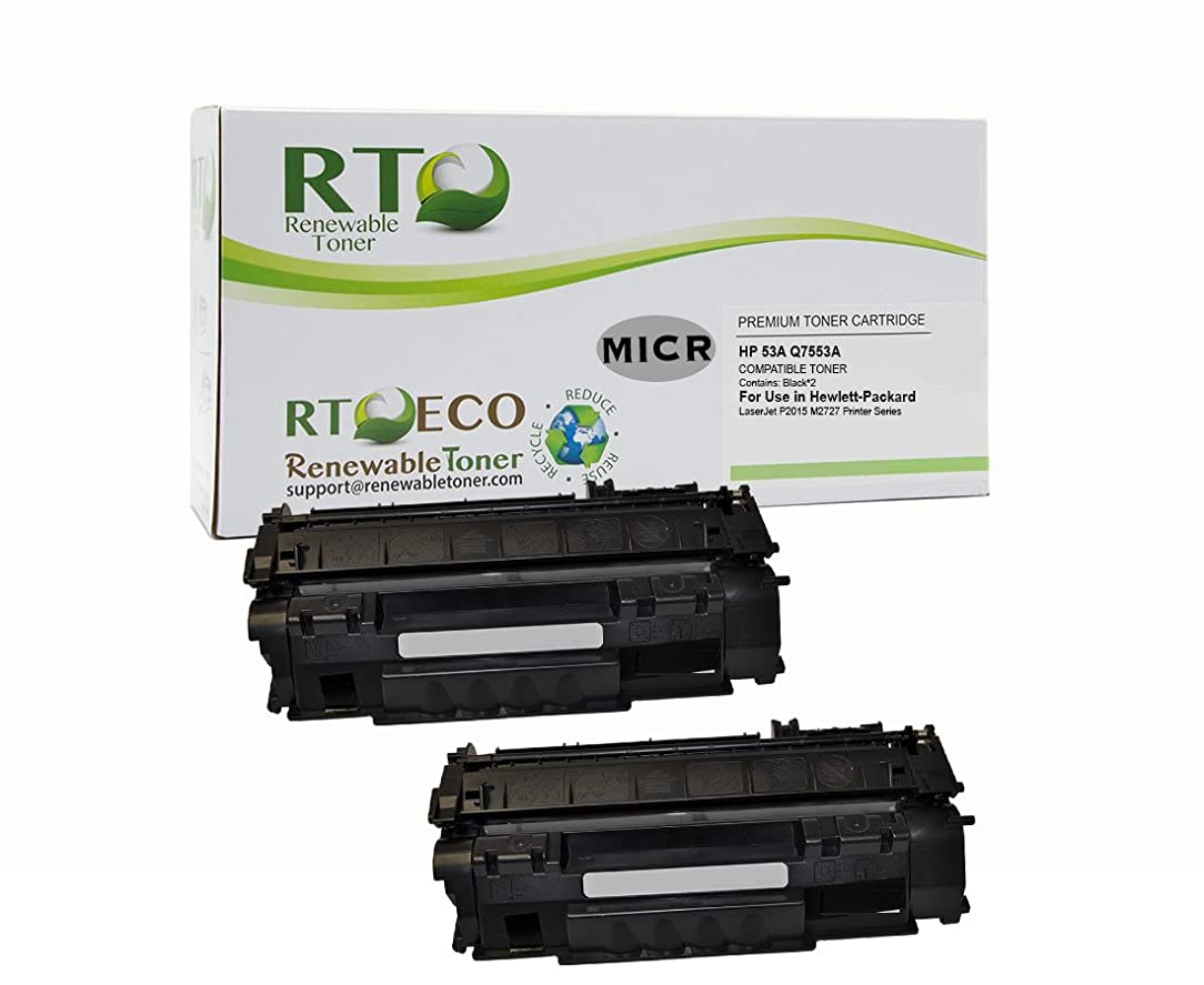 Renewable Toner Compatible MICR Toner Cartridge Replacement for HP Q7553A 53A for use in Laserjet P2015 M2727 (2-Pack) ktd10829968