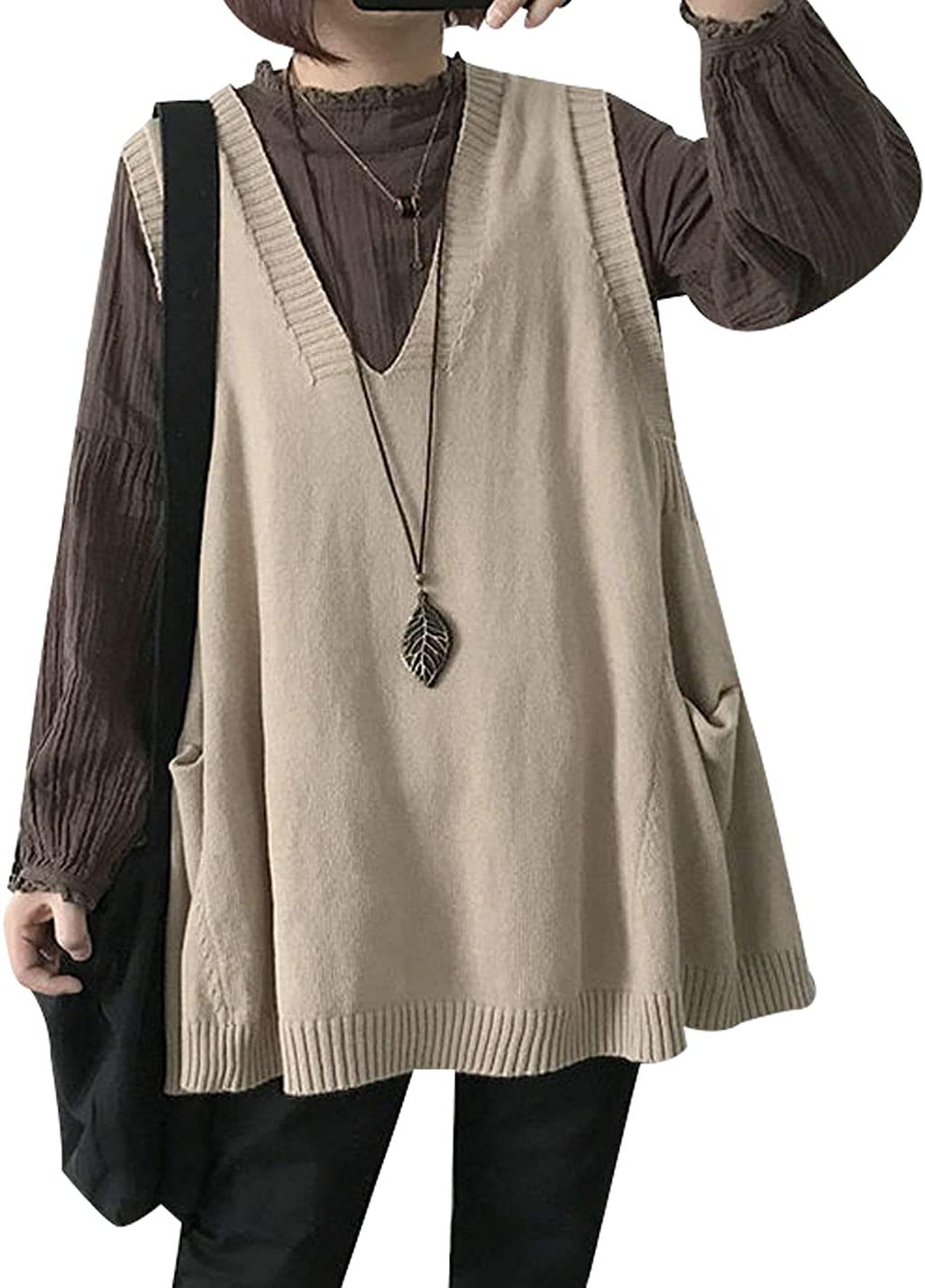 Lentta Womens Casual Baggy V Neck Pocket Sleeveless Tunic Knitted Vest Sweater Top