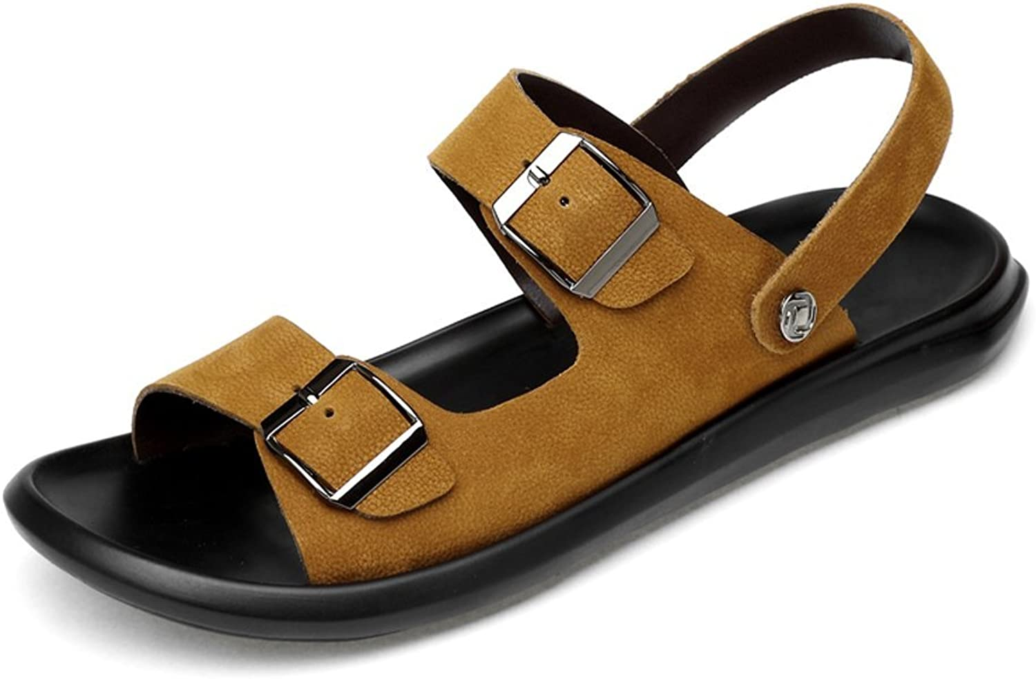 Dig dog bone Men's Genuine Leather Beach Slippers Casual Sandals Belt Buckle Closed Non-Slip Soft Sole shoes Adjustable Backless