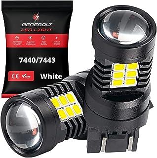 BENEBOLT 7440 7443 LED bulb 3600 Lumens White LED Reverse lights - W21W T20 7441 7444 bulb - 10.5W Mega Bright - Brake lig...