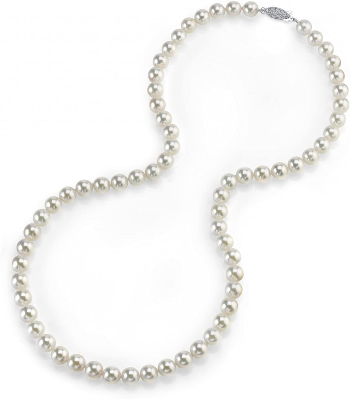 THE PEARL SOURCE 14K Gold 5.5-6.0mm AAA Quality Round Genuine White Japanese Akoya Saltwater Cultured Pearl Necklace in 24