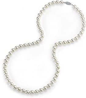 The Pearl Source 14K Gold 5.0-5.5mm AAA Quality Round Genuine White Japanese Akoya Saltwater Cultured Pearl Necklace in 51