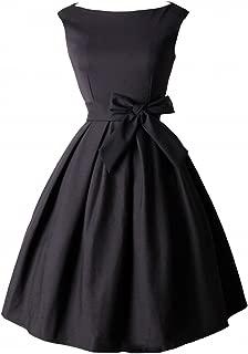 Tecrio Vintage Audrey Hepburn 1950's Boat Neck Solid Cocktail Party Swing Dress