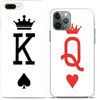 Cavka TPU Couple Cases for Apple iPhone 11 Pro Xs Max X Xr 8 Plus 7 6s SE 5s King Queen Card Minimal White Gift Anniversary Clear Flexible Her Him Silicone Cover Cute Print Matching Girlfriend Women