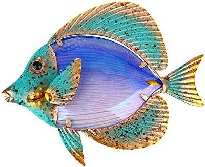 Liffy Metal Fish Wall Art Outdoor Decor Hanging Glass Garden Decorations For Patio Deck Or Bathroom Amazon Co Uk Kitchen Home