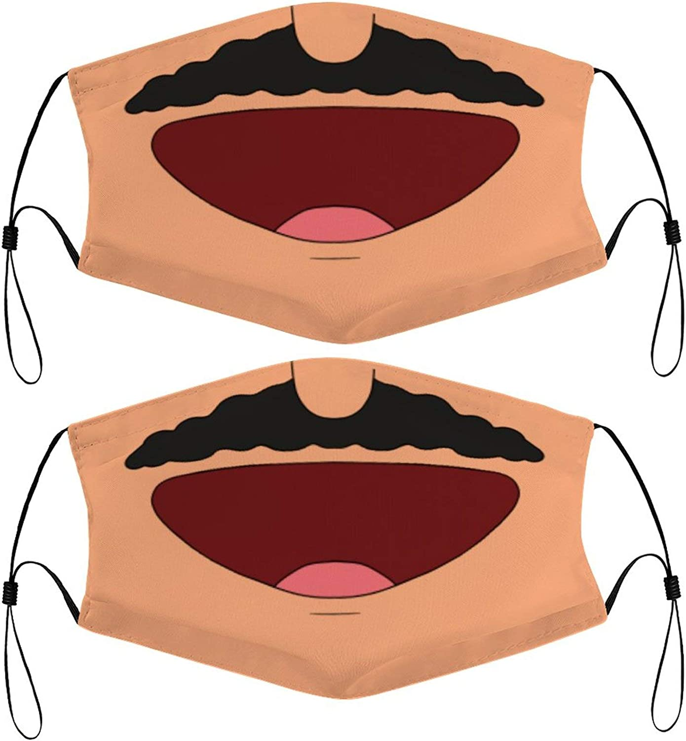 Funny Cartoon Mouth Kids Face Masks Set of 2 with 4 Filters Washable Reusable Breathable Black Cloth Bandanas Scarf for Unisex Boys Girls