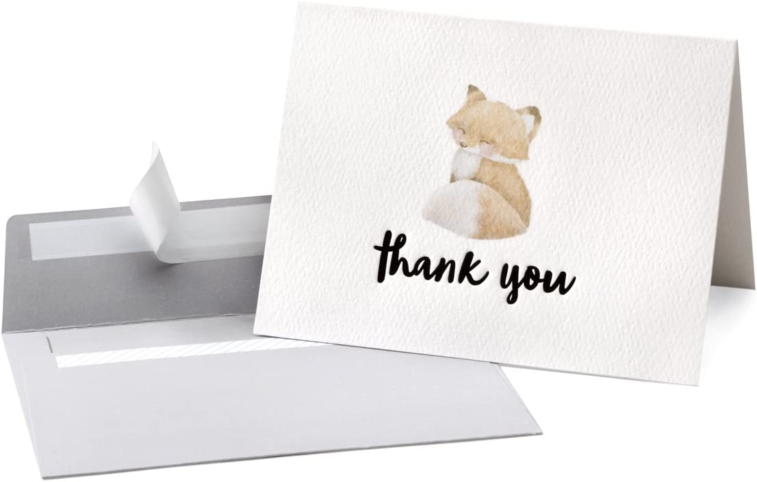 Philadelphia Mall Cute Woodland Animal Thank You Cards Self Gray New sales Envelope and Seal