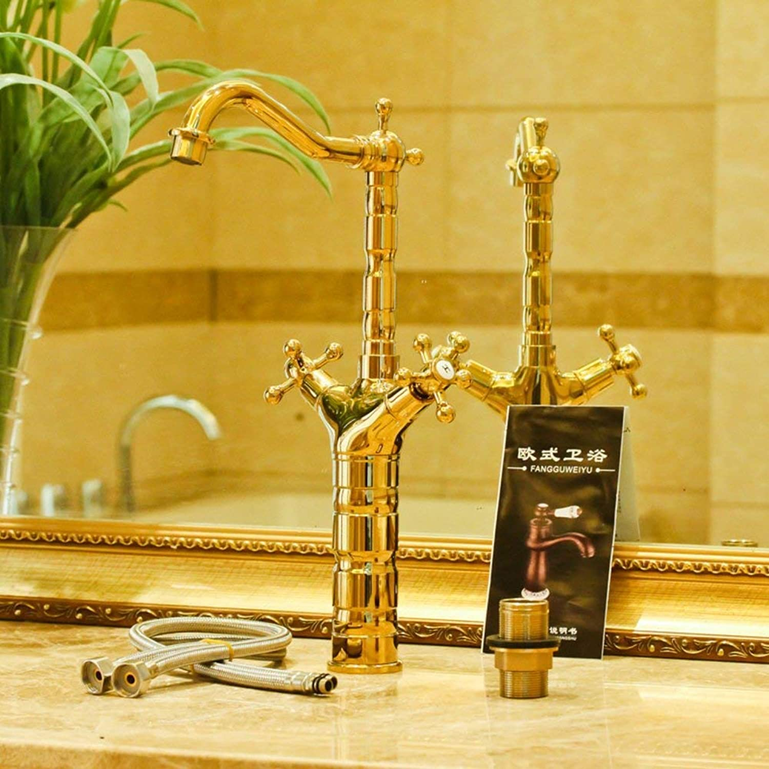 FuweiEncore All copper faucet antique basin taps Counter basin faucet Tap both hot and cold Heightening (color   -, Size   -)
