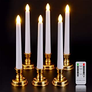 SoulBay Flameless Taper Candle 7.9inch Battery Operated LED Window Candles Flickering Light with Timer Remote Candlesticks for Christmas Decoration, Warm White