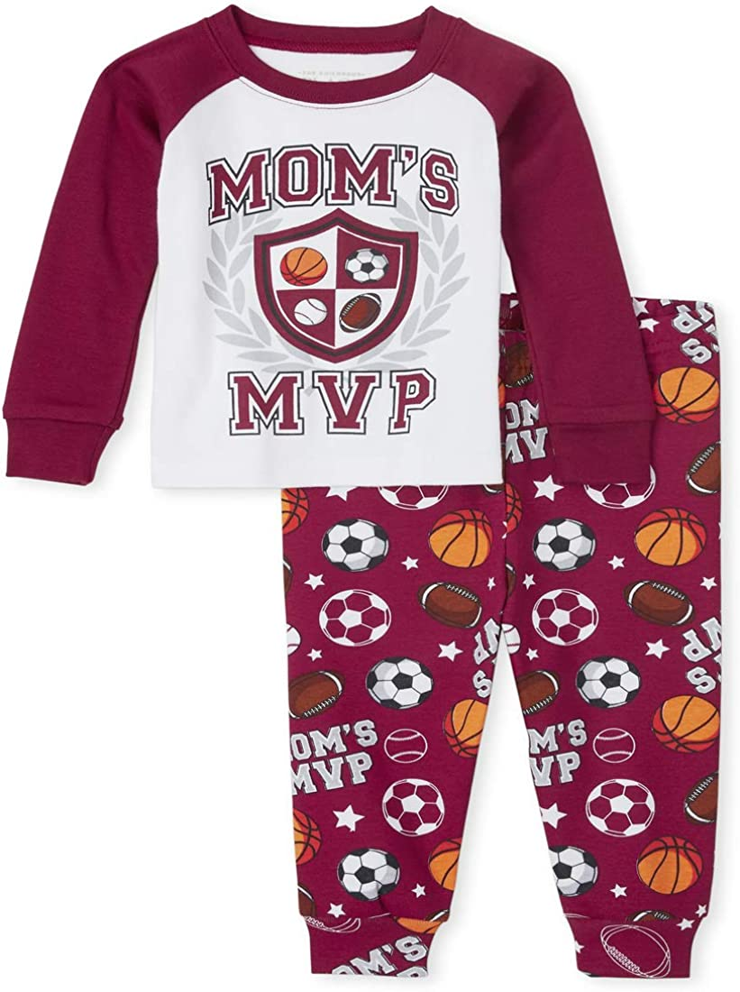The Children's Place Boys' Baby and Toddler Mom's MVP Snug Fit Cotton Pajamas