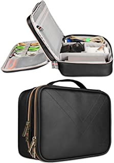 Electronics Organizer Travel Bag, BUBM Portable Universal Multi-Purpose PU Leather Data Cable Cord Gadget Gear Electronic Storage Bag for Electronic Accessories (Large, Black)