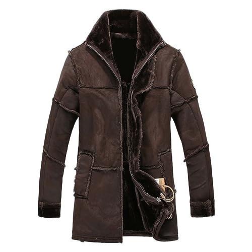 08be24321e8853 Mrs Duberess Men's Winter Thick Warm Vintage Suede Sheepskin Jacket Faux Fur  Leather Jacket Cashmere Shearling
