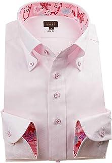 [スタイルワークス] ドレスシャツ ワイシャツ シャツ メンズ 国産 長袖 綿100% スリムフィット ボタンダウン ジャガード織 麻葉柄 ピンク 1912 (Sサイズ・裄丈81cm)