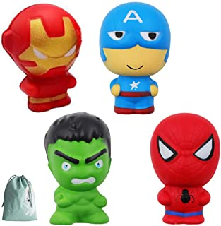 NeatoTek Jumbo Slow Rising Squishies 4 Pack Super Hero Squishy Toys Party Favors Stress Relief Toy for Boys Toddlers Bag