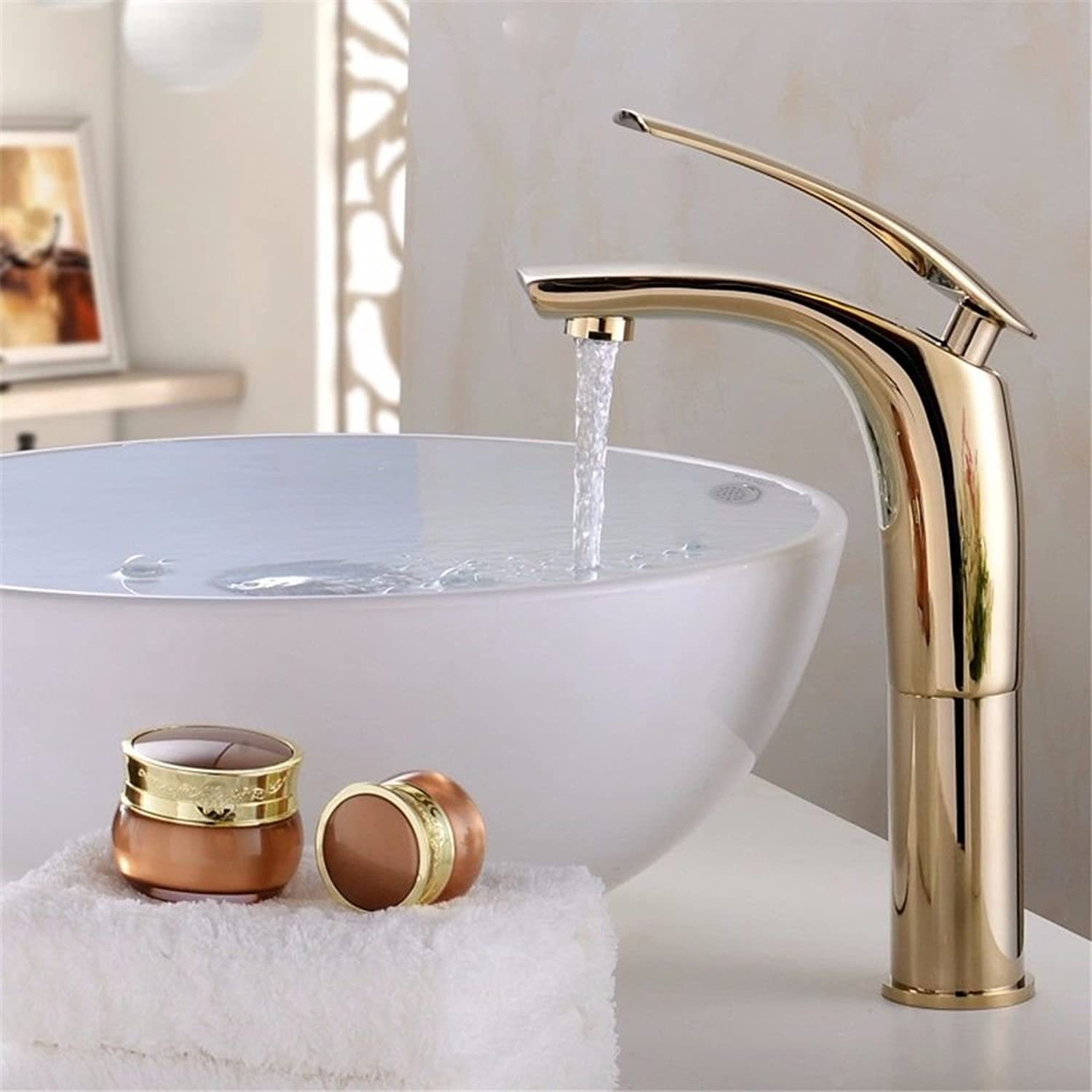 AQMMi Bathroom Sink Faucet Basin Mixer Tap color Baking Paint Single Hole gold Basin Sink Tap Bathroom Bar Faucet