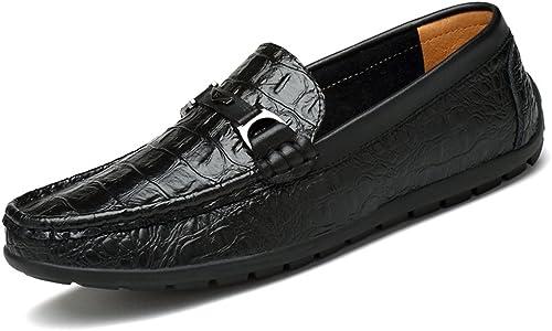 CHENDX Chaussures, Crocodile à la Mode pour Hommes Mocassins à Talon Plat (Couleur   Noir, Taille   41 EU)