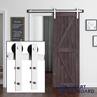 SMARTSTANDARD 6ft Heavy Duty Nickel Sliding Barn Door Hardware Kit - Smoothly and Quietly -Easy to Install - Includes Step-by-Step Installation Instruction Fit 36