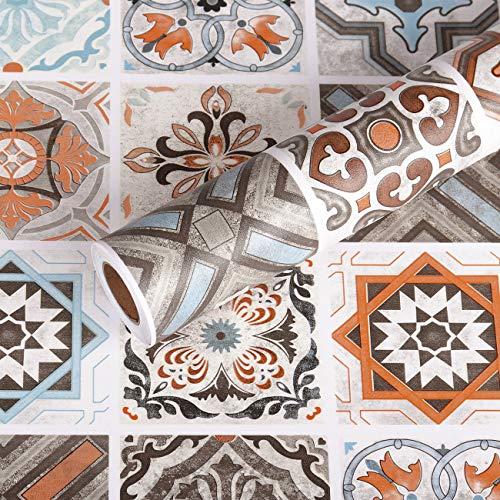Livelynine Papel de contacto para azulejos decorativos de papel pintado para cocina, dormitorio, baño, suelos de vinilo, autoadhesivos, rollo de papel de pared de 15.8 x 78.8 pulgadas