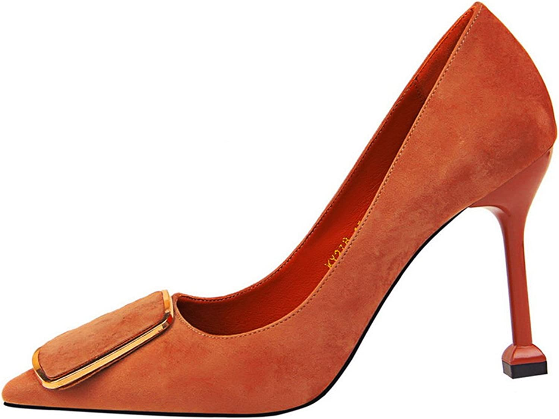 Owen Moll Women Pumps, Fashion Metal Belt Buckle Solid Shallow Pointed Toe Sandal shoes