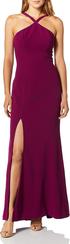 Dress the Population Women's Brianna Halter Mermaid Fitted Long Gown Maxi Dress, Dark Magenta, XXS