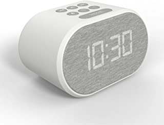 Alarm Clock Bedside Non Ticking LED Backlit Alarm Clock with USB Charger & FM Radio, 5 Step Dimmable Display - Wall Outlet...