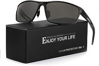 43b6c6913a TJUTR Gafas De Sol Hombre Deportivas Espejo Polarizadas Anti Reflectante  Ultraligero Metal Protección 100% UVA