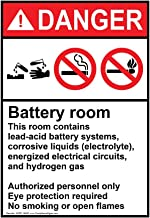 Danger Battery Room ANSI Safety Label Decal, 5x3.5 in. Vinyl 4-Pack for Process Hazards Restricted Access by ComplianceSigns