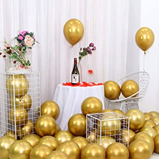 Metallic Gold Balloons 10 Inch 100pcs for Wedding Birthday Party Decoration Pastel Color Balloons Latex Balloons (100PCS M...