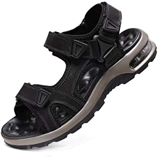 Mens Leather Sandals Open Toe Outdoor Hiking Sport Sandals Waterproof Summer Beach Shoes with Arch Support