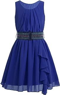 Vestido de Gasa Fiesta Sin Mangas con Cinturón para Niña Vestido de Princesa Ceremonia para Chica Dama de Honor