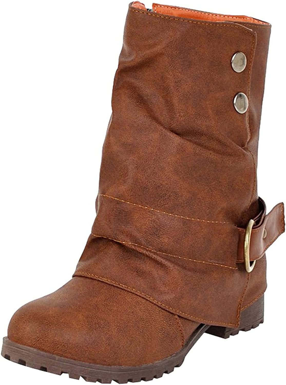 Women Retro Buckle Ankle Booties Mid Calf Combat Boots Round Toe