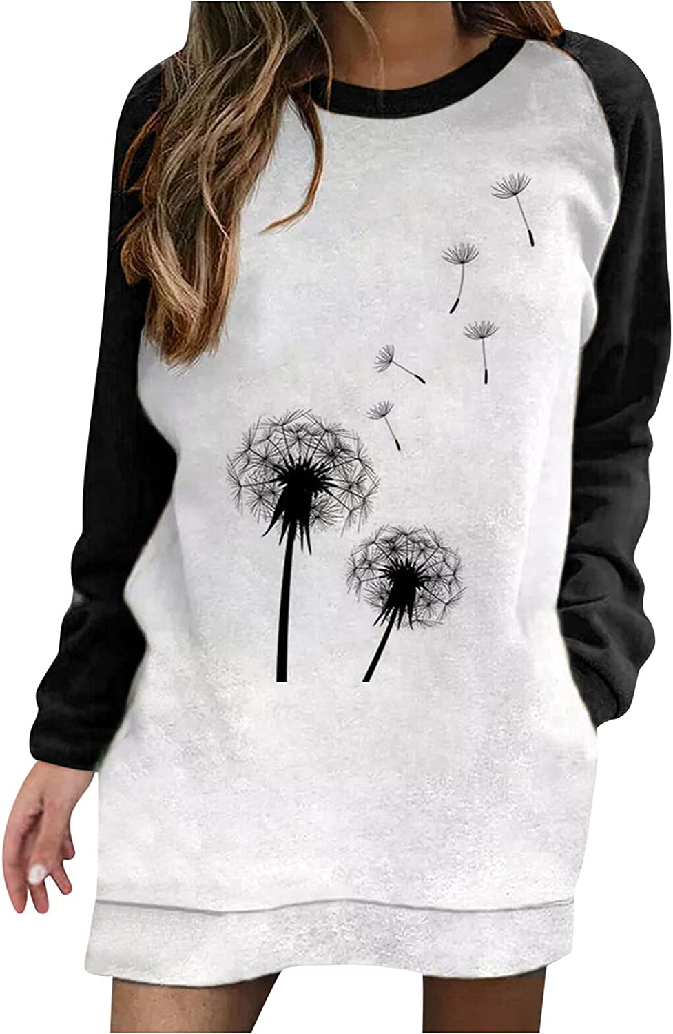 Aiouios Lightweight Sweatshirts for Women Graphic Dandelion Print Long Sleeve Splice Pullover Casual Loose Blouses Tops