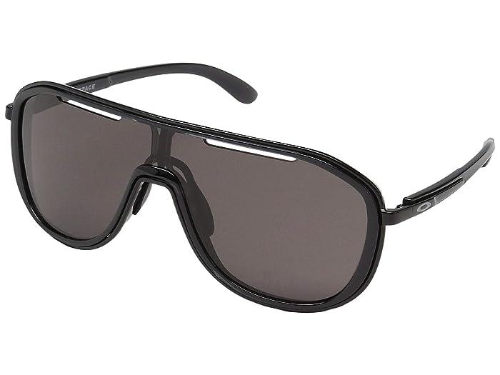 Oakley Outpace (Black Ink/Polished Black w/ Warm Grey) Sport Sunglasses