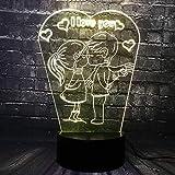 3D Illusion Led Lámpara De Noche Luz Nocturna Romántica Te Amo Lámpara Led 3D Bombilla Rgb Luz De Noche Niño Beso Chica Mesa Dormitorio Junto A La Decoración Novia Amante Regalos De Regalo Con Contro