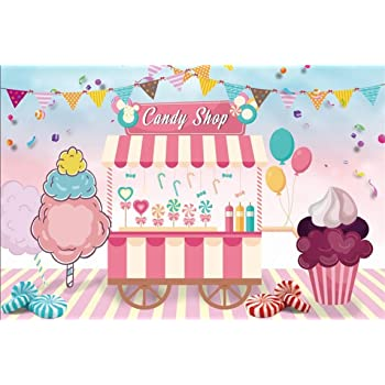 CSFOTO Happy Birthday Backdrop 10x7ft Birthday Party Background for Photography Baby Shower Decor Banner Donut Chocolate Ice Cream Interior Decor Kids Adults Portraits Wallpaper