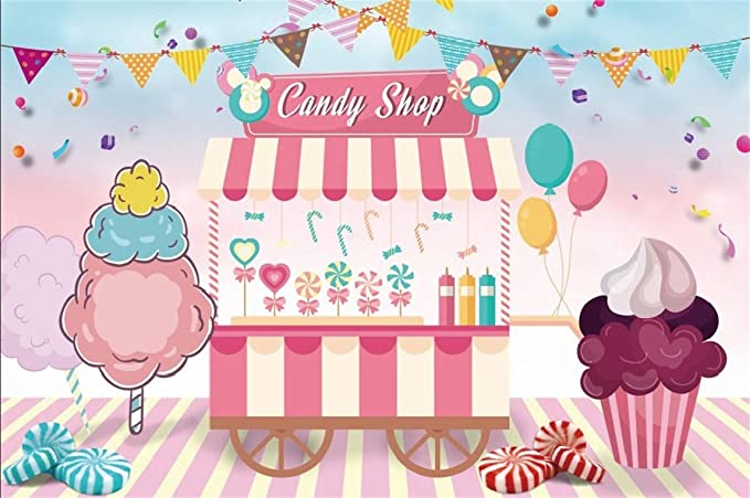 CSFOTO Happy Birthday Backdrop 7x5ft Birthday Party Background for Photography Baby Shower Decor Banner Donut Chocolate Ice Cream Interior Decor Kids Adults Portraits Wallpaper