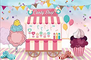 CSFOTO 7x5ft Background for Candy Shop Birthday Party Decor Photography Backdrop Party Table Ice Cream Birthday Banner Food Cart Happy Celebration Kid Child Photo Studio Props Polyester Wallpaper