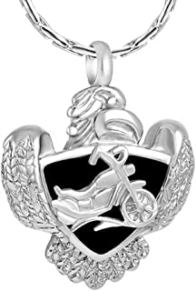 Cremation Jewelry for Ashes Motorcycle Eagle Deisgn Stainless Steel Pendant Memorial Urn Necklace Ashes Holder Keepsake