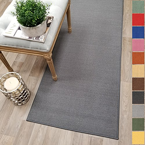 Custom Size Grey Solid Plain Rubber Backed Non-Slip Hallway Stair Runner Rug Carpet 22 inch Wide Choose Your Length 22in X 6ft