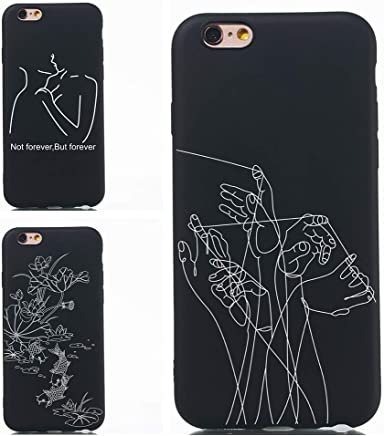 c910cc2dd92 CUAgain 3 X Funda Compatible con iPhone 6s Plus/iPhone 6 Plus Silicona  Dibujos Motivo