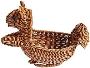 SWZJJ Storage Basket,Creative Rattan Woven Basket Household Storage Box Lovely Home Decor (Brown)