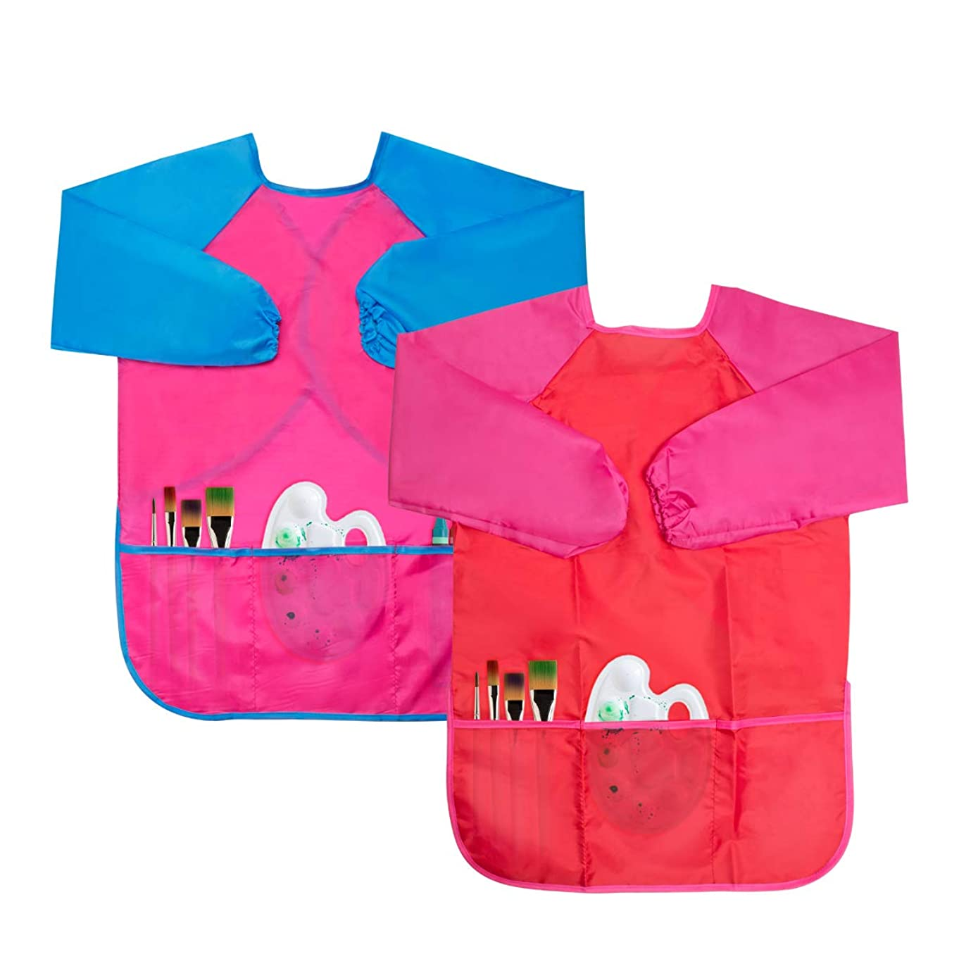 Chanaco 2 Pack Kids Art Smocks, Children Waterproof Artist Painting Aprons Long Sleeve with 3 Pockets for Age 2-6 Years, 2 Colors (2 Pack (Red & Rose Red))