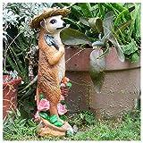 Dreafly Suricate décoration de Jardin résine Artisanat Statue Figurines animales réalistes pour la Cour de Jardin à la Maison