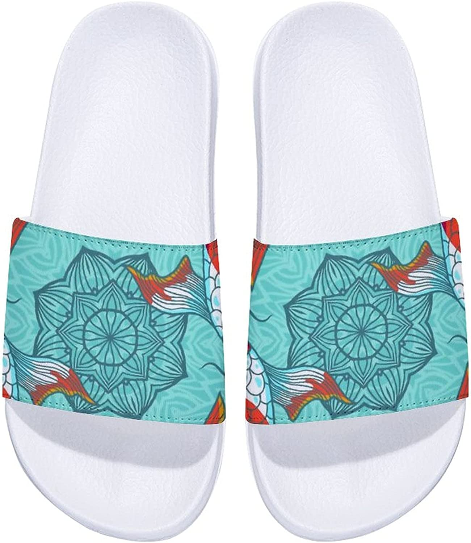 Chinese Koi Carp Fishes Lotus Men's Slide Comfort Free shipping Max 53% OFF Women's and Sa