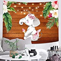 Baby Shower Kids Tapestry Elephant Flowers and Plants Art Wall Hanging Tapestries for Living Room Home Dorm Decor 150x200cm