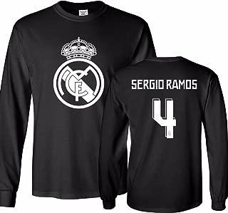 Real Madrid Shirt Sergio Ramos #4 Jersey Men's Long Sleeve T-Shirt