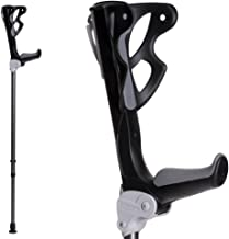 Ergodynamic Forearm Crutches by FDI (Size: 4'7-6'8) 1 Pair/2 Crutches/Black/Lightest Crutch with an Integrated Shock Absorber (L (Over 188lbs) Spring Rate)