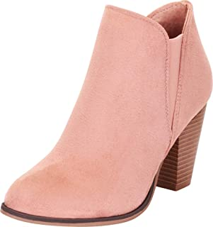 Women's Western Stretch Stacked Chunky Heel Ankle Bootie