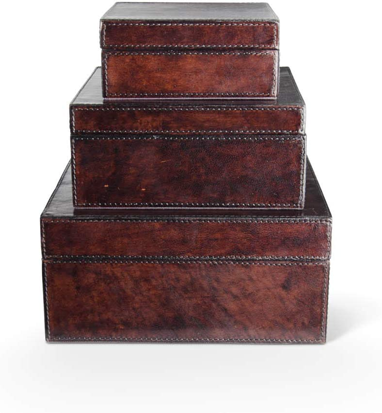 KK Interiors 15659A-BR Set Max 61% OFF of 3 Leather Gr Brown San Jose Mall Nesting Boxes